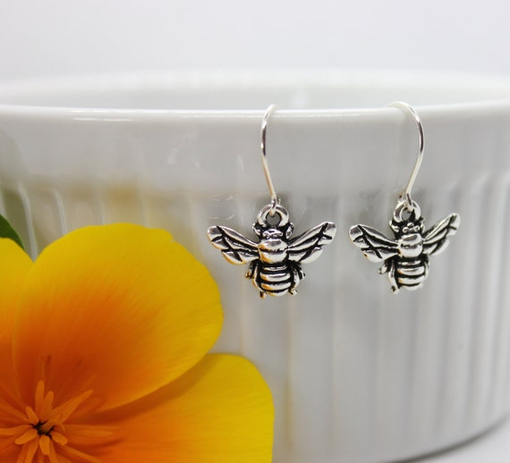 Bee Earrings, Bee Jewelry, Insect Jewelry, Silver Charm Dangle Earrings, Gift for Her, Honey Bee Lover, Spring Jewelry