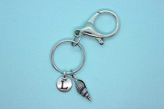 Seashell Keychain Personalized, Sea Shell, Key Ring with Initial, Nautical Keychain, Silver Charm, Backpack Tag, Seashell Zipper Pull