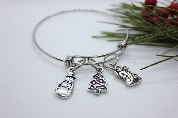 Christmas Charm Bangle, Christmas Charm Bracelet, Christmas Bangle Bracelet, Christmas Tree Bracelet, Snowman Bracelet, Santa Bangle, Silver