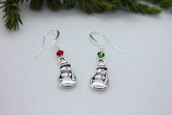 Snowman Earrings, Snowman Jewelry, Christmas Earrings, Christmas Jewelry, Christmas Charm, Snowman Charm, Dangle Earrings, Swarovski Crystal