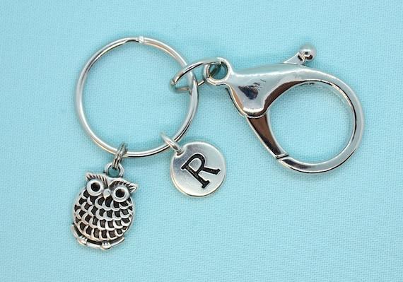 Stainless Steel Owl Keychain, Owl KeyRing Custom, Owl Lover Gift, Owl Backpack Tag, Initial Keyring, Owl Zipper Pull