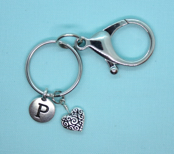 Heart Keychain, Stainless Steel Heart Key Ring, Silver Heart Charm, Heart Zipper Pull, Backpack Tag, Initial Charm