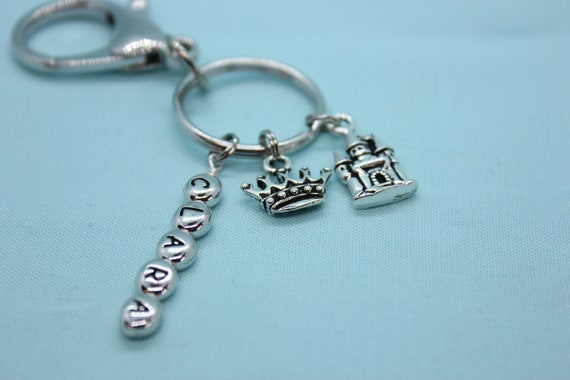 Princess Keychain, Castle Keychain, Stainless Steel Keychain, Key Ring Personalized, Princess Crown Key Ring, Princess Charm, Castle Charm