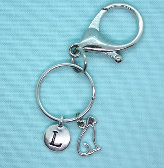 Cat Stainless Steel KeyChain Personalized, Kitty Silver Charm, Cat Key Ring, Cat Lover Gift, Cat Backpack tag