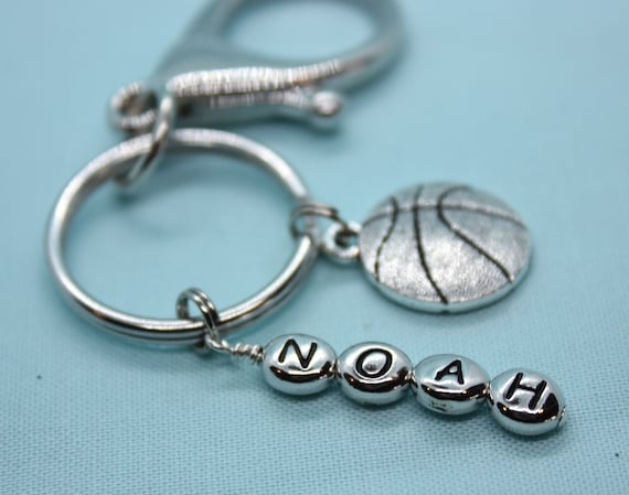 Basketball Keychain Personalized, Stainless Steel Key Ring, Basketball Charm, Custom Coach Gift, Sports Backpack Tag, Zipper Pull