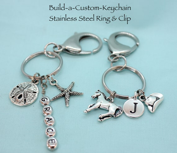 Build a Keychain, Stainless Steel Keychain, Personalized Keychain, Silver Charms, Custom Charms, Custom Key Ring, Backpack Tag, Purse Tag