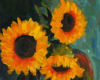 "Original Acrylic Painting on Board, Blue Vase with Sunflowers, Ready to Hang, Still Life Painting, Sunflower Painting, 9.5"" x 13"""