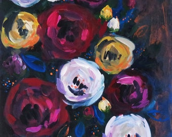 "Original Acrylic Painting on Board, Falling Roses, Ready to Hang, Rose Still Life Painting, 12"" x 16"""