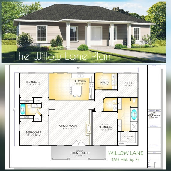 The Willow Lane House Plan Hip Roof Option Etsy