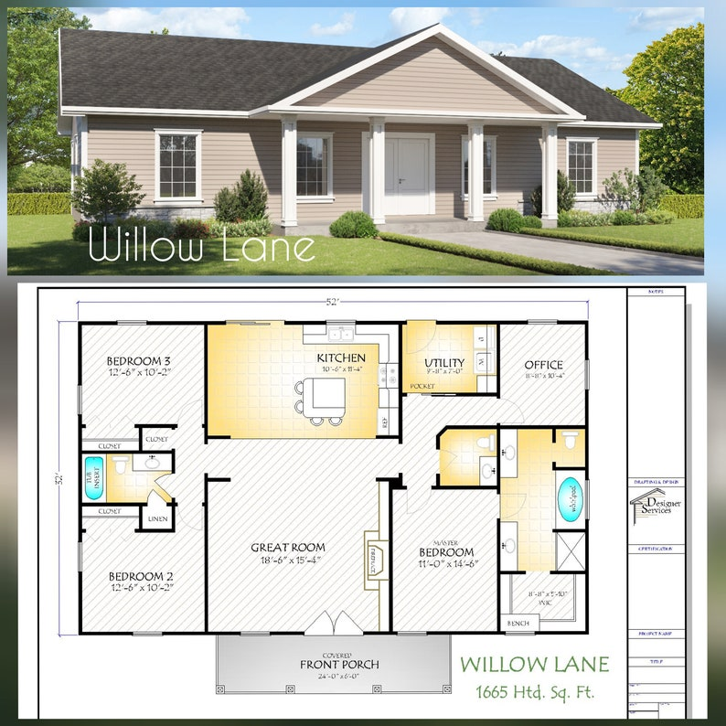 Willow Lane House Plan 1664 Square Feet Gable Roof Option image 0