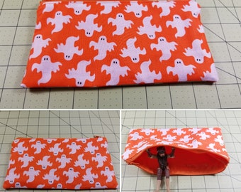 Small Spooky Ghost Zipper Pouch - pencil pouch - cosmetics pouch