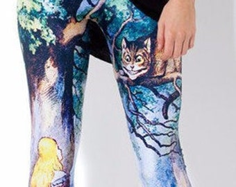 a7483a522e75d Custom Made Size XS - 2XL Women's Alice With Cheshire Cat Print Alice In Wonderland  Leggings