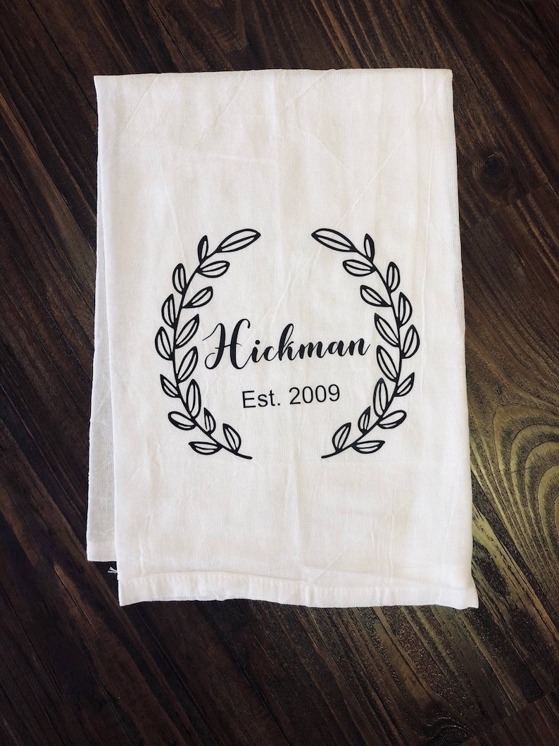 Personalized laurel flour sack kitchen towel