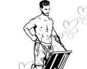 Athletic Men Healthy Lifestyle Health Club Sports Training Muscular Build Exercise SVG .EPS .PNG Vector Clipart Digital Circuit Cut Cutting