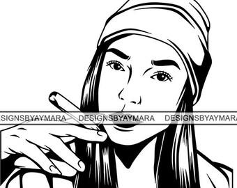f2b1d2cd6c2 Woman Smoking Blunt Weed Cannabis 420 Medical Marijuana Roll Pot Stone High  Life Smoker SVG .PNG Vector Clipart Cricut Circuit Cut Cutting