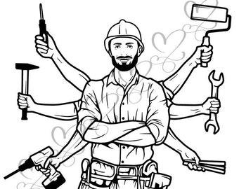 building service etsy General Maintenance Worker Resume Sample handyman carpenter repairman technician electrician mechanic service maintenance svg eps vector clipart digital circuit cut cutting