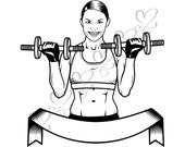 Strong Female Fitness Woman Exercising Healthy Lifestyle Sport Muscular Build Gym SVG .EPS .PNG Vector Clipart Digital Circuit Cut Cutting