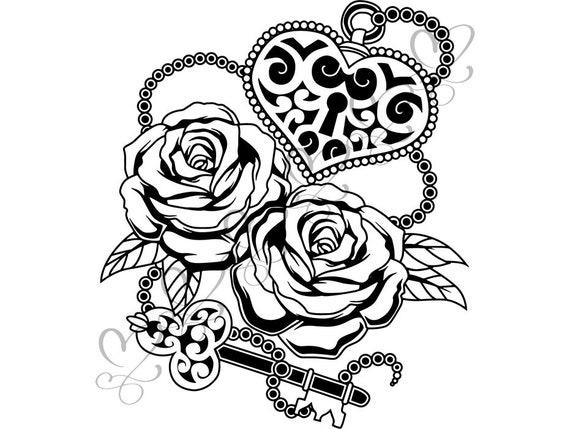 Tattoo Rose Padlock Flower Chain Creativity Print Key Luck Etsy