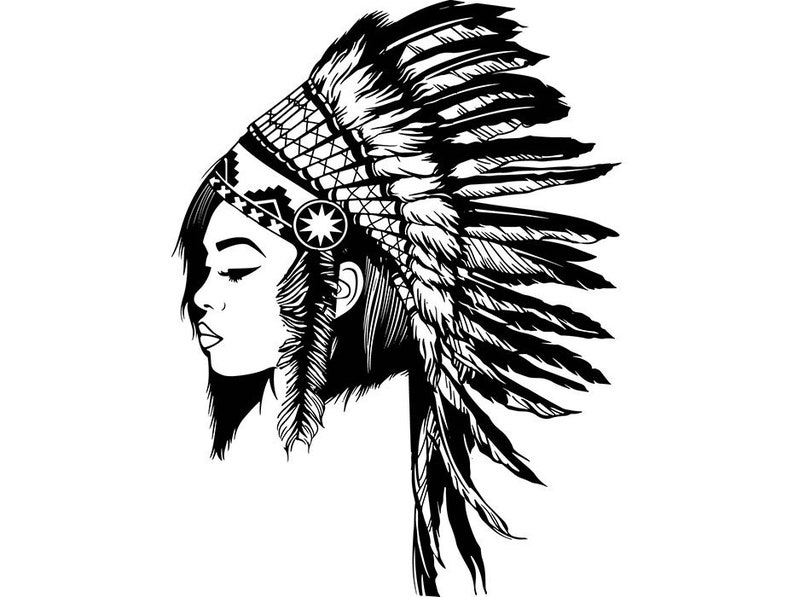 Indian Woman Cherokee Headdress Native Traditional Mascot Feather Warrior  SVG  EPS  PNG Vector Clipart Digital Download Circuit Cut Cutting