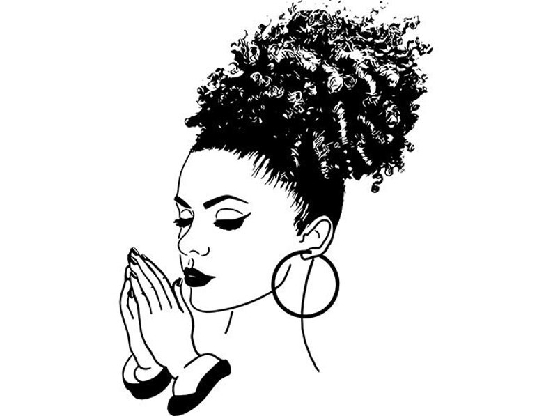 Black Women Praying God Quotes Diva Queen Afro Puff African American Female  Lady SVG  EPS  PNG Vector Clipart Digital Circuit Cut Cutting