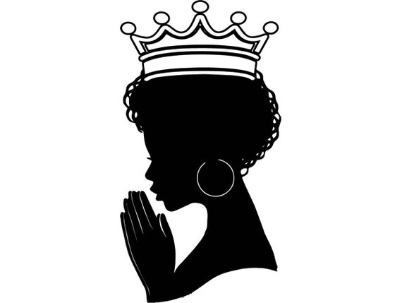 Black Queen Praying Woman Silhouette Afro Nubian Princess Etsy
