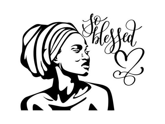 Head wrap svg black woman headwrap Silhouette African Woman | Etsy