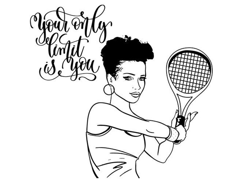 Afro Womansexy Athletic Tennis Lady Sport Queen Nubian African