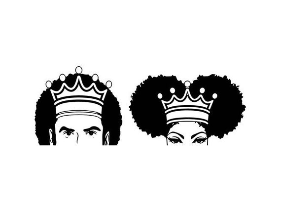 Black King Queen Couple Nubian Princess Afro Hair African Etsy
