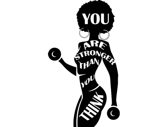 Strong Afro WomanQuotes Fitness Nubian Queen Afro Hair Beautiful Female  Lady SVG .EPS .PNG Vector Clipart Digital Circuit Cut Cutting