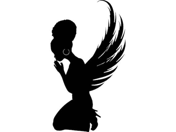 black angel praying silhouettes nubian princess queen afro