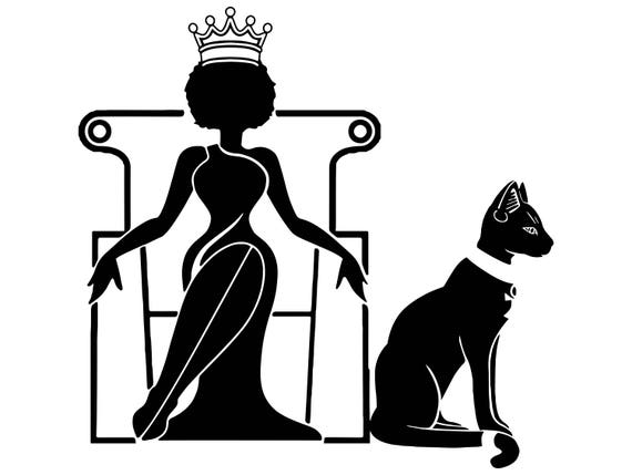 Afro Woman Svg Princess Queen Black Cat Crown Afro Hair Etsy