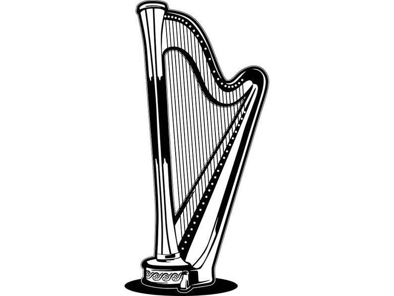 Harp Classical Music Musical Instrument Orchestra Brass Band Harmony  SVG   EPS  PNG Vector Clipart Digital Download Circuit Cut Cutting