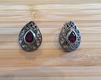 Vintage Ruby Teardrop Earrings