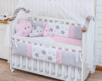 a45129689c969 Little Happy Cloud Raindrop Sky Theme Pink Baby Girl 9pc Nursery Crib  Bedding Set Embroidered Bumpers + Sheet set + Decorative Cushions