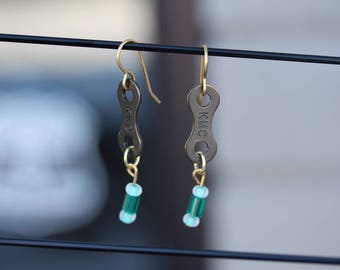 Recycled Single Speed Bike Chain Earrings with Bead Detail