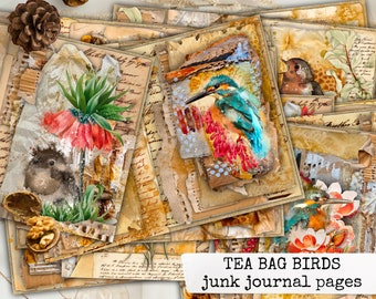 Birds Junk Journal Kit, Tea Bag Birds, Birds Theme Printable, Junk Journal Pack, Scrapbooking Journal, Journal Kit, Craft Kit, DIY Kit