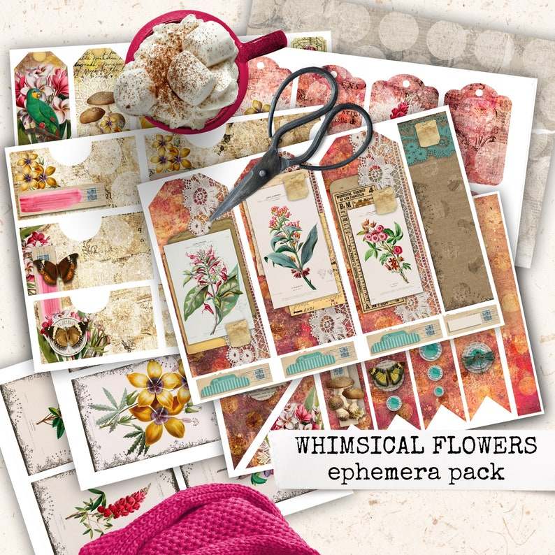 whimsical flowers junk journal ephemera digital download image 0