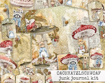 OACHKATZLSCHWOAF junk journal kit, digital printable paper autumn, collage sheets for junk journal, scrapbook, paper craft 8.5x11 download