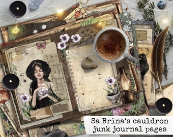 witch spell book grimoire junk journal pages, digital download for scrapbook, notebooks, planners, cardmaking