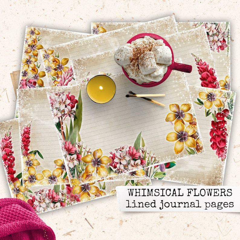 whimsical flowers lined junk journal pages digital download image 0