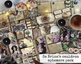 witch spell book grimoire junk journal ephemera, digital download for scrapbook, notebooks, planners, cardmaking