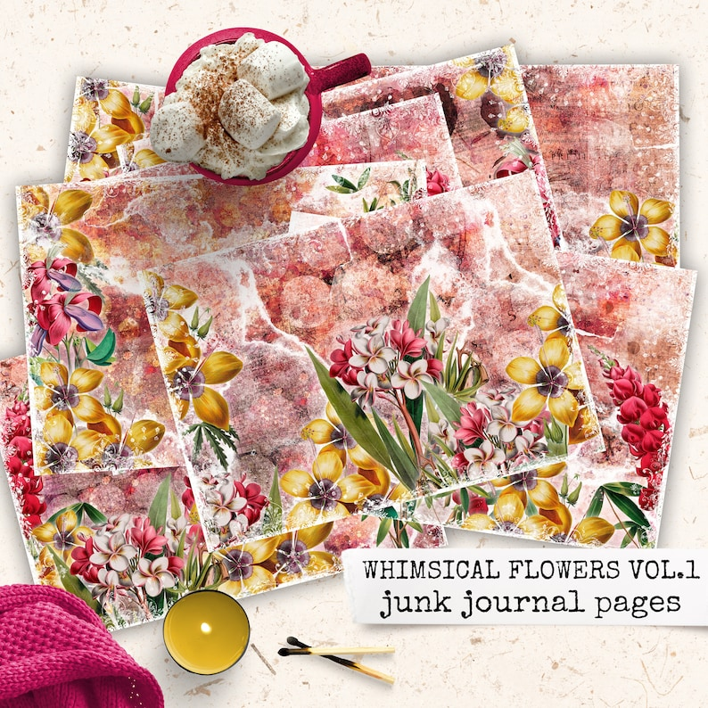 whimsical flowers junk journal pages digital download image 0