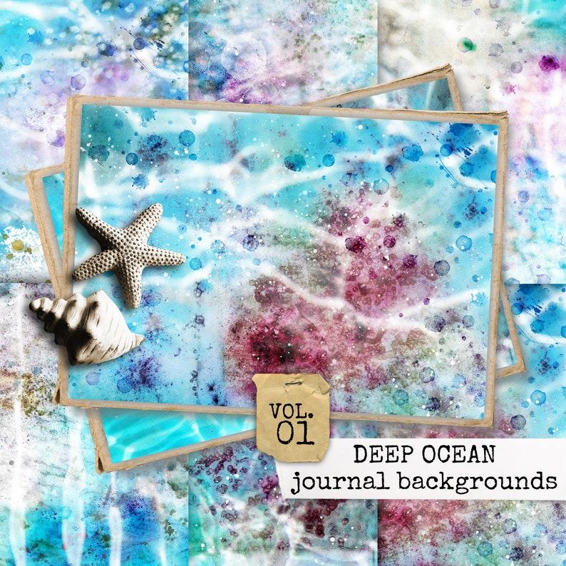 deep ocean junk journal background paper beach collage sheets image 0