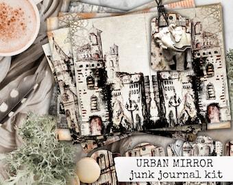 urban sketch junk journal kit, urban mirror digital printable junk journal paper, urban landscape paper for junk journals & scrapbooks