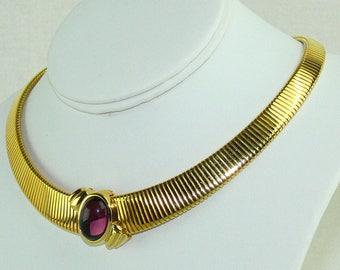 Vintage Monet Gold Tone Omega Purple Gripoix Glass Cabochon Slider Choker Necklace