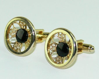 Vintage Dante Gold Plated Round Filigree Black Stone Cufflinks Mens Jewelry