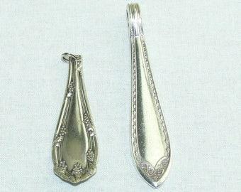 Vintage Silver Plate Spoon Flatware Jewelry Pendants Set of 2