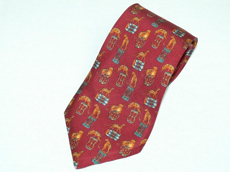 1b655def6547 Salvatore Ferragamo Red Silk Tie Leopard Cheetah Print Necktie | Etsy