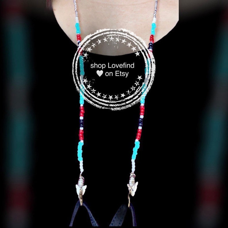Arrowhead Native American Inspired Beaded Eyeglass Face Mask Chain Necklace Bracelet Wrap Jewelry Boho Tribe