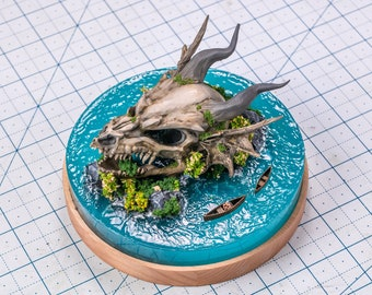 Dragon skull miniature in the water